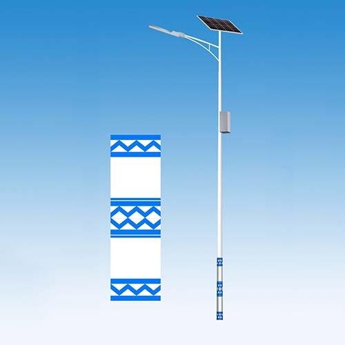 蓝白相间民族特色太阳能路灯